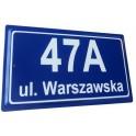 Tabliczka adresowa stalowa tłoczona niebieska